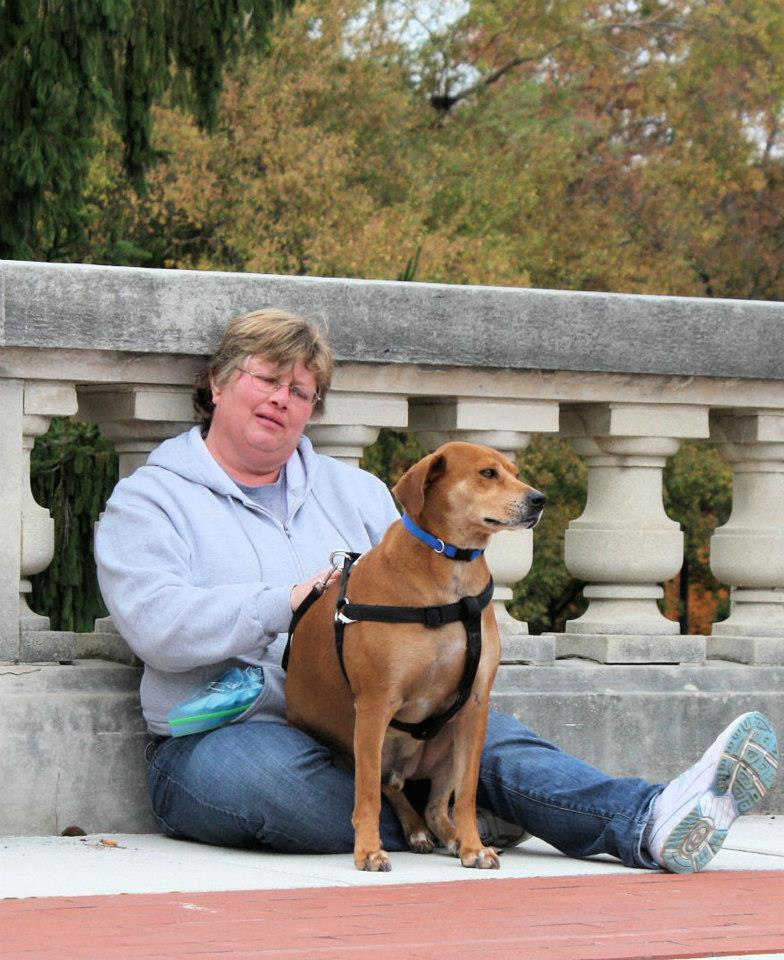 Chance and Barbara resting at the Kentucky State Capitol in Frankfort, KY.