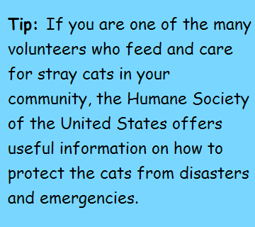 Tip: if you are one of many volunteers who feed and care for stray cats in your community, the Humane Society of the United States offers usefull information on how to protect the cats from disasters and emergencies.